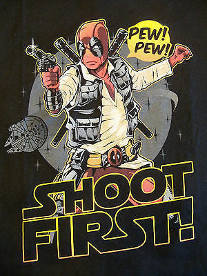 RIPT T-Shirt - Deadpool Han Solo Star Wars Pew Pew Shoot First - Adult