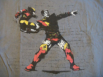 TeeFury T-Shirt - Banksy X-Men Wolverine Colossus Fastball Special New XXL Gray