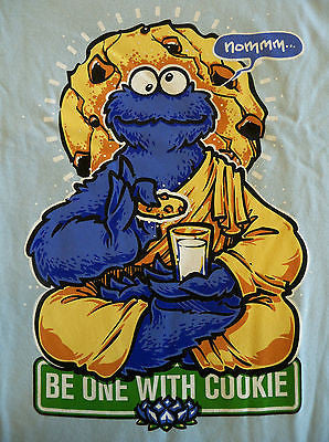 TeeFury T-Shirt - Be One With Cookie - Cookie Monster - Lt Blue