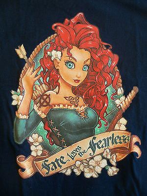 TeeFury T-Shirt - Brave Merida - Fate Loves The Fearless - New Adult M