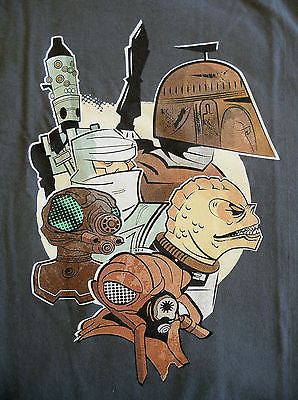 TeeFury T-Shirt - Star Wars Bounty Hunters - New - Adult XL - Dk Gray