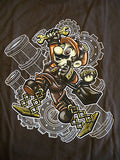 TeeFury T-Shirt - Steampunk Mario - New Adult L - Brown