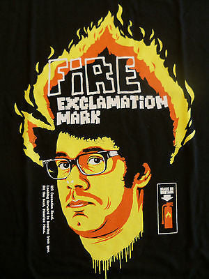 TeeFury T-Shirt - It Crowd - Fire Exclamation Mark - Black - M