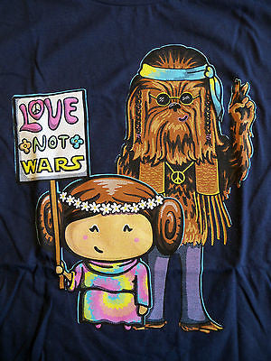 Woot T-Shirt - Star Wars Love Not Wars - Princess Leia Chewbacca - Adult L