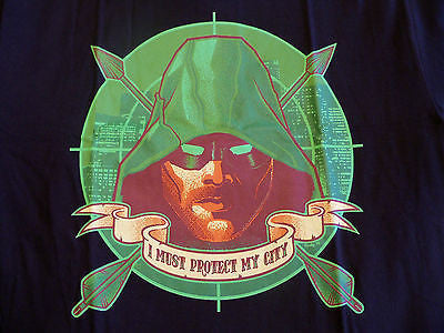 TeeFury T-Shirt -  Green Arrow I Must Protect My City - Adult M