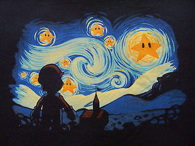 TeeFury - Graphic Tee T-Shirt - Mario Van Gogh Starry Night - New Adult XL