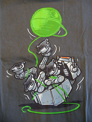 TeeFury T-Shirt - Star Wars At-At Death Star - Cat With A Ball Of Yarn - Adult M