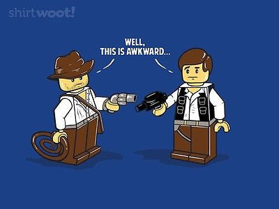 Woot T-Shirt - LEGO Star Wars Indiana Jones Han Solo Awkward - Adult
