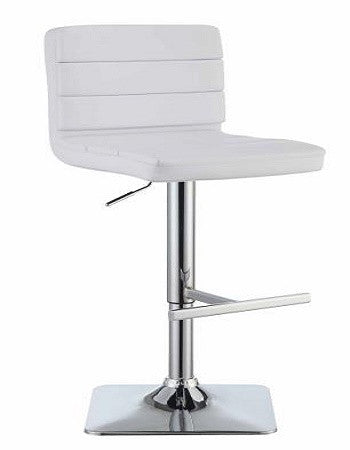 (120694) WHITE ADJUSTABLE METAL BAR STOOL