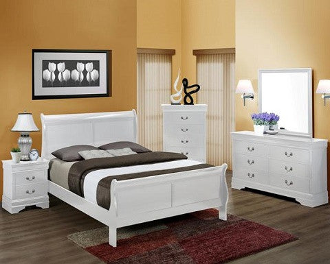 B3600 White Louis Philippe Sleigh Bedroom Collection