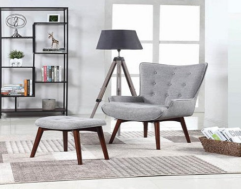 Grey Chair and otttoman set Coa 903820