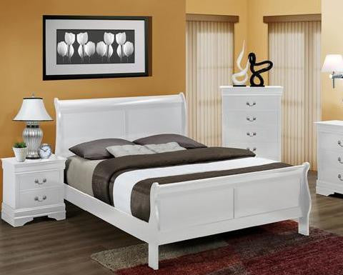 B3600 White Louis Philippe Sleigh Bed