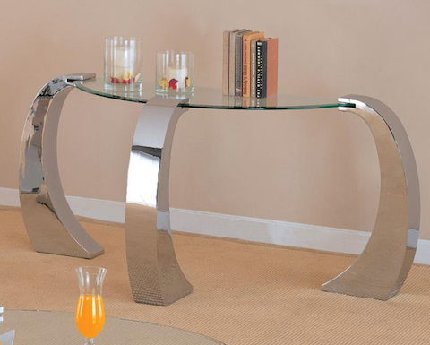 Contemporary Custer Metal and Glass Sofa Table COASTER 720059