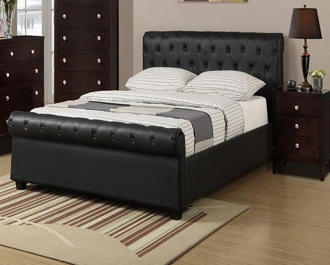 (F9246q) Black Leather Platform Bed