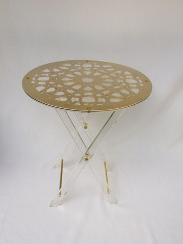 Gold Geometric Perspex Table