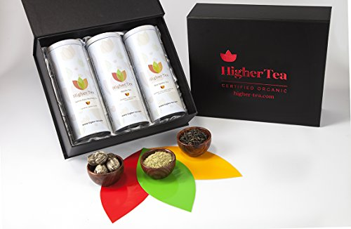 Sampler Tea Tin Gift Set By Higher Tea (3 Pack) Rose, Matcha, Jasmine - Cooling, Calming Tea for Menopause Relief, Hot Flashes, Night Sweats, Fatigue