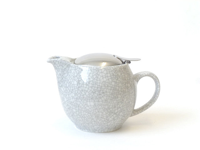 Round Crackle White Teapot