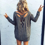 Fashion Spandex Backless Crisscross Irregular V-Neck Top Sweater Knitwear