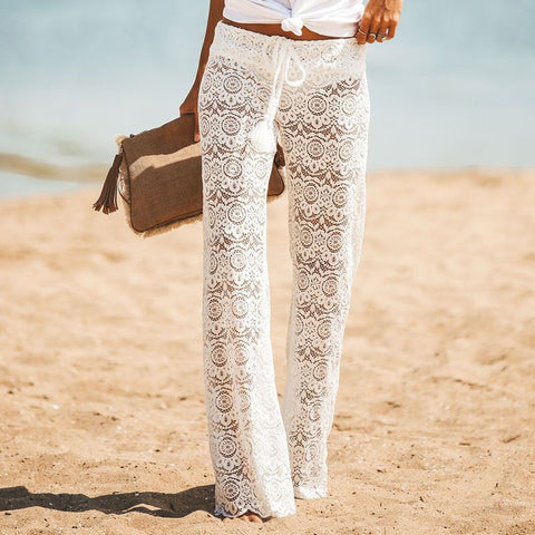 Hollow Lace High Waist Fashion Pants Trousers