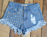 Fashion Rivets Jeans Shorts