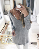 Sexy V-neck Long Sleeve Top Sweater Pullover
