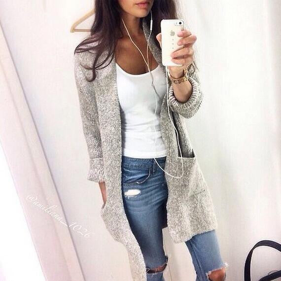 Fashion Solid color Cardigan Jacket Coat Knitwear