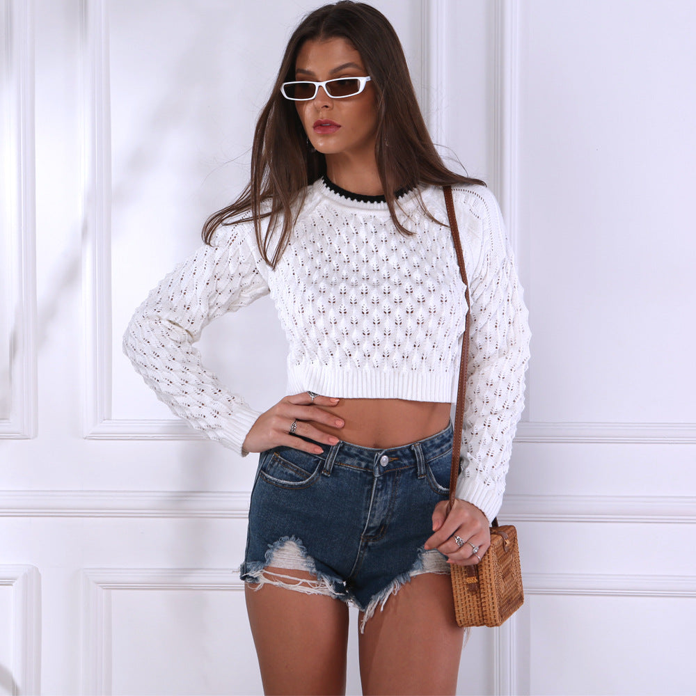 Knitted Round Neck Open Navel Strap Hollow Concave Convex Three Dimensional Sweater