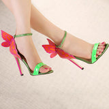 Butterfly Ankle Strap Women Fashion Peep Toe High Heels Shoes