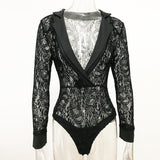 Top Autumn Long Sleeve V-neck Lace Sexy One Piece