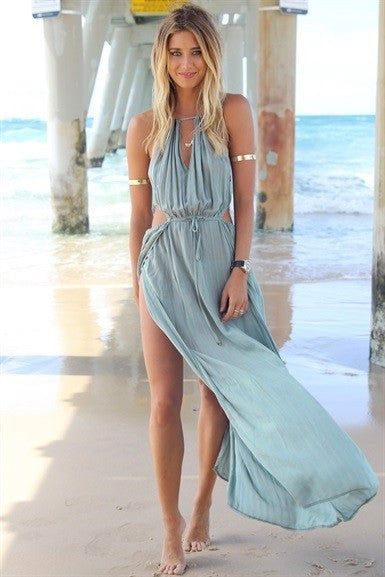 Sexy Deep V-Neck Irregular Dress