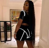 Casual Neon Color Women Two Piece Sets Fashion Reflective Active Wear Tracksuit Crop Top And Shorts Matching Set Sporty