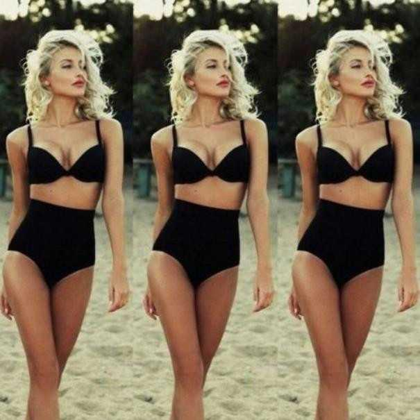 High Waist Strap Fashion Bikini Set Swimsuit Swimwear