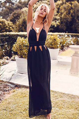 Hollow Out Halter Backless Maxi Dress