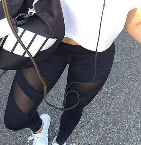 Mesh Gym Yoga Tight Sports Pants Trousers