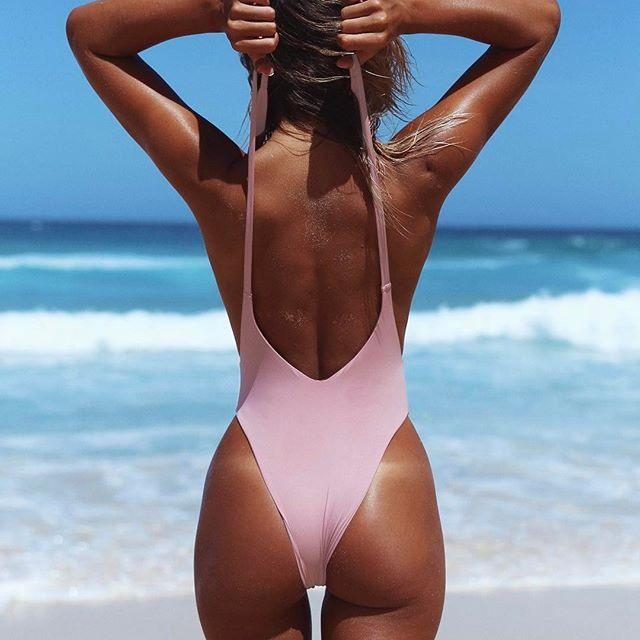 V-Neck Backless Beach One Piece Swimwear Bikini Swimsuit