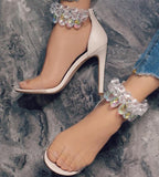 Rhinestone Fashion Women Zipper Peep Toe High Heels Shoes
