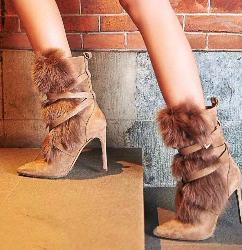 Fur Suede Women Fashion Half Boots High Heels Shoes
