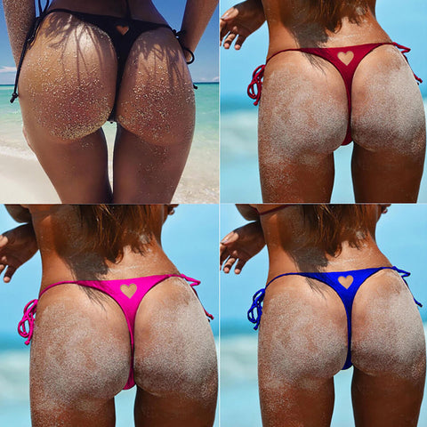 Heart Strappy Solid Color Beach Thong T-back Panty