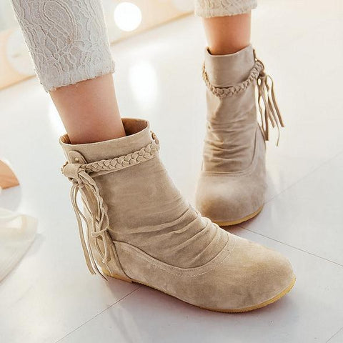 Tassels Fashion Women Flats Shoes Short Boots