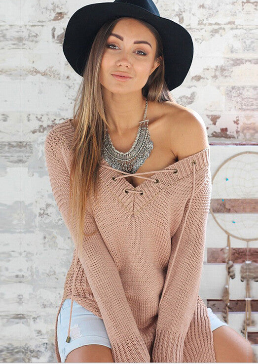 Sexy V-Neck  Loose Top Sweater