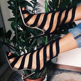 Stripe Fashion Women Peep Toe Sandals High Heels Shoes