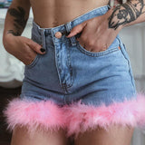 Fur Denim High Waist Fashion Denim Shorts