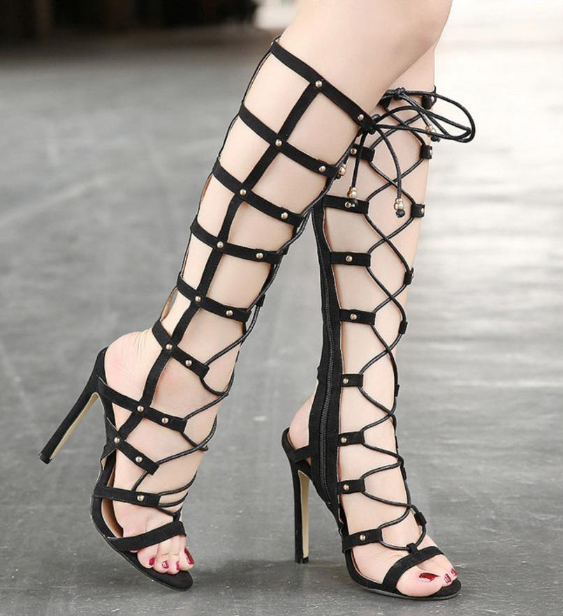 Hollow Leather Women Fashion Strappy Peep Toe High Heels Shoes