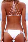 Hollow Solid Color Halter Bikini Set Swimsuit Swimwear