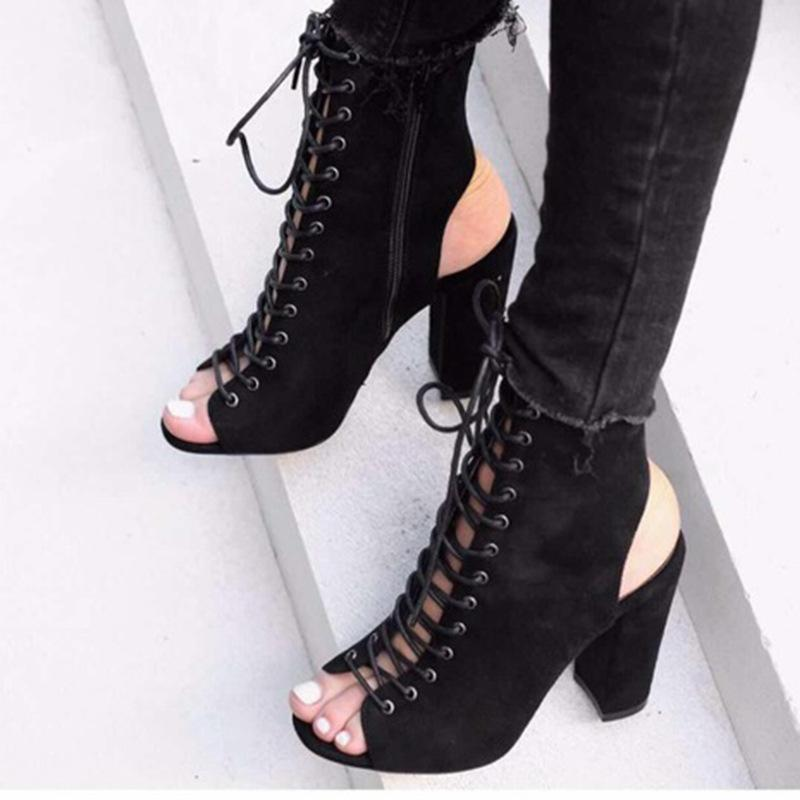 Crisscross Zipper Fashion Women Peep Toe High Heels Shoes