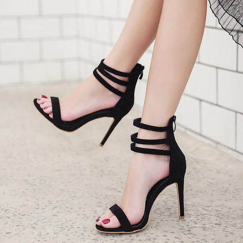 Zipper Hollow Fashion Women Peep Toe High Heels Shoes