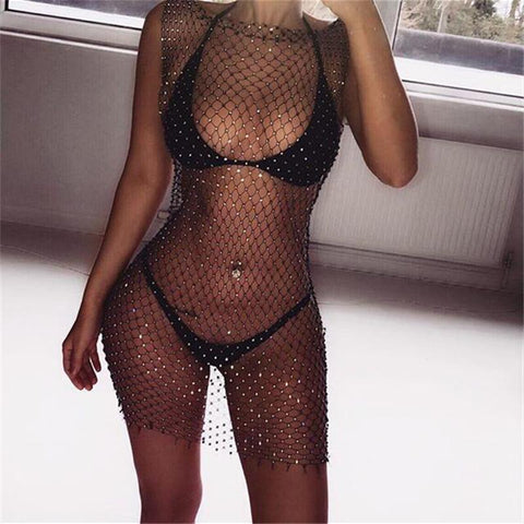 Mesh Round neck Glittering  Beach Mini Dress