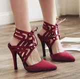 Hollow Strappy Fashion Women Pointed Toe High Heels Shoes