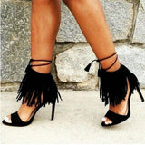 Tassels Strappy Fashion Women Sandals Peep Toe High Heels Shoes