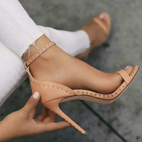 Rivets Ankle Strap Women Fashion Sandals High Heels Shoes